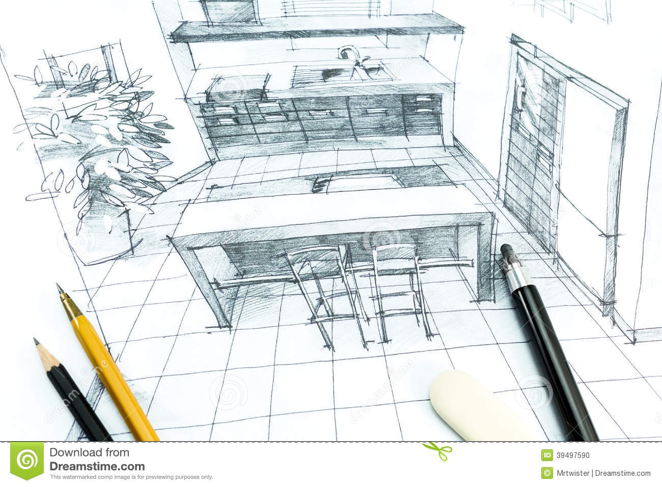 Interior Hand Drawing Stock Photo