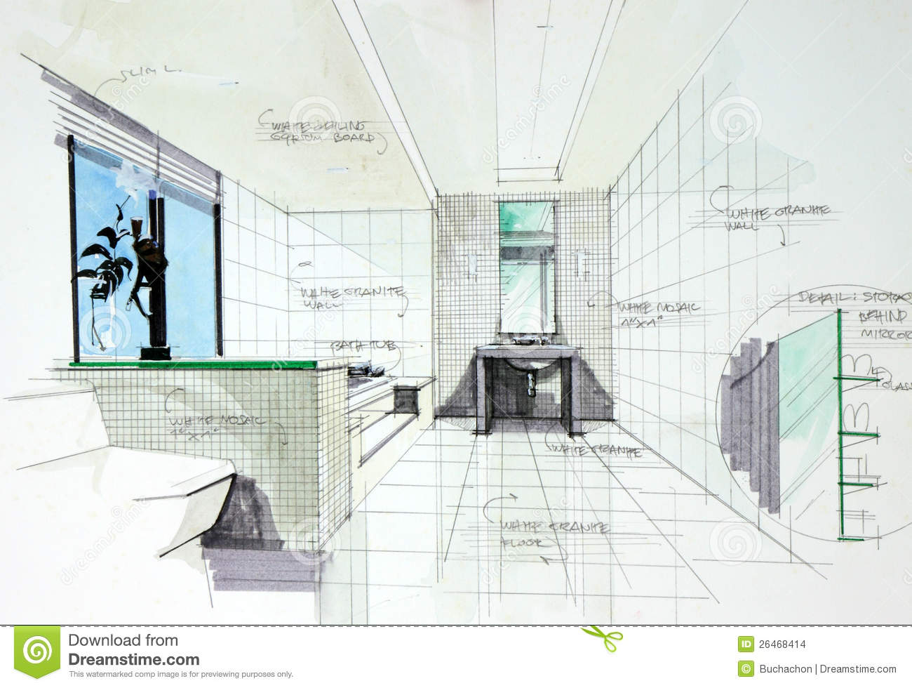 Bathroom perspective drawing - Interior Hand Drawn Perspetive Of Bathroom Stock Images
