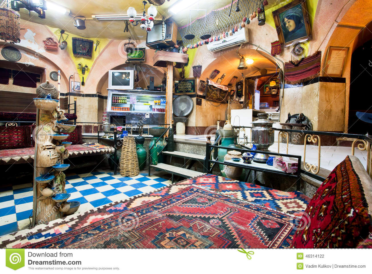 Interior Of Historical Persian Cafe House With Old Carpets