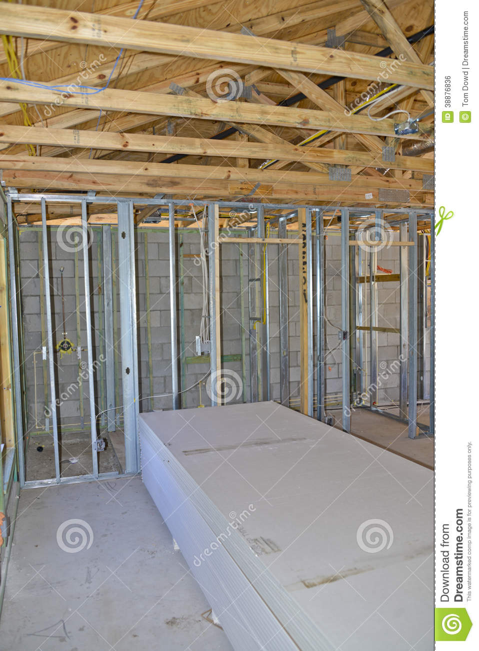 Interior Wall Construction : Interior home construction stock photo image