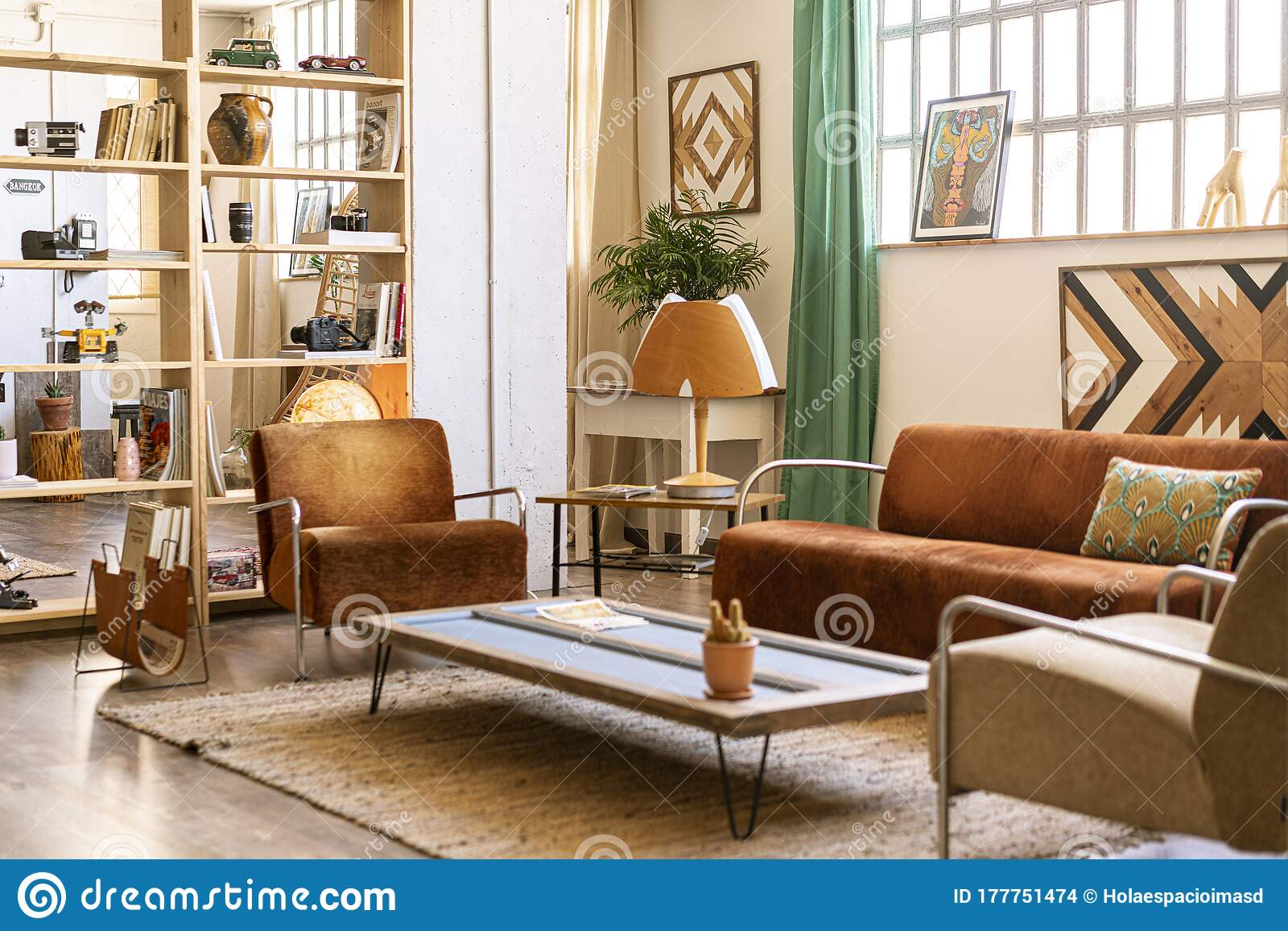 Interior Home Decoration Living Room With Relax Zone With Brown Sofas And Armchairs Stock Photo Image Of Loft Industrial 177751474