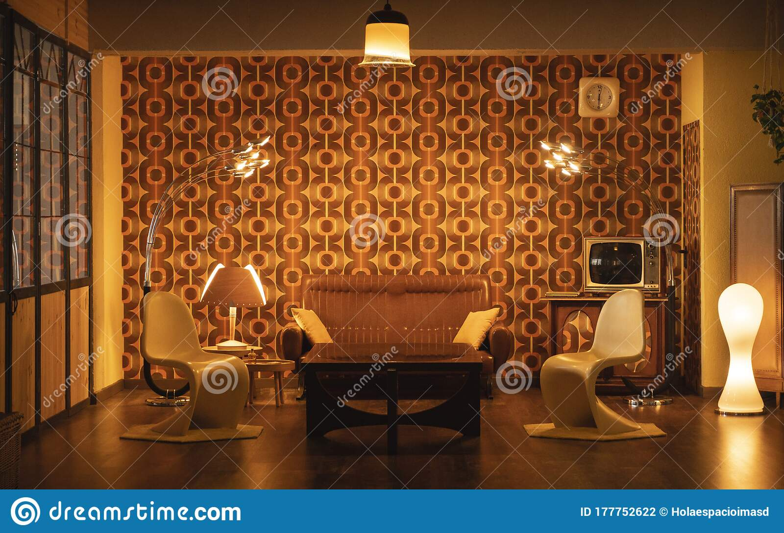 Interior Home Decoration Beautiful 60s Living Room With Design Furniture Stock Photo Image Of Light Indoor 177752622