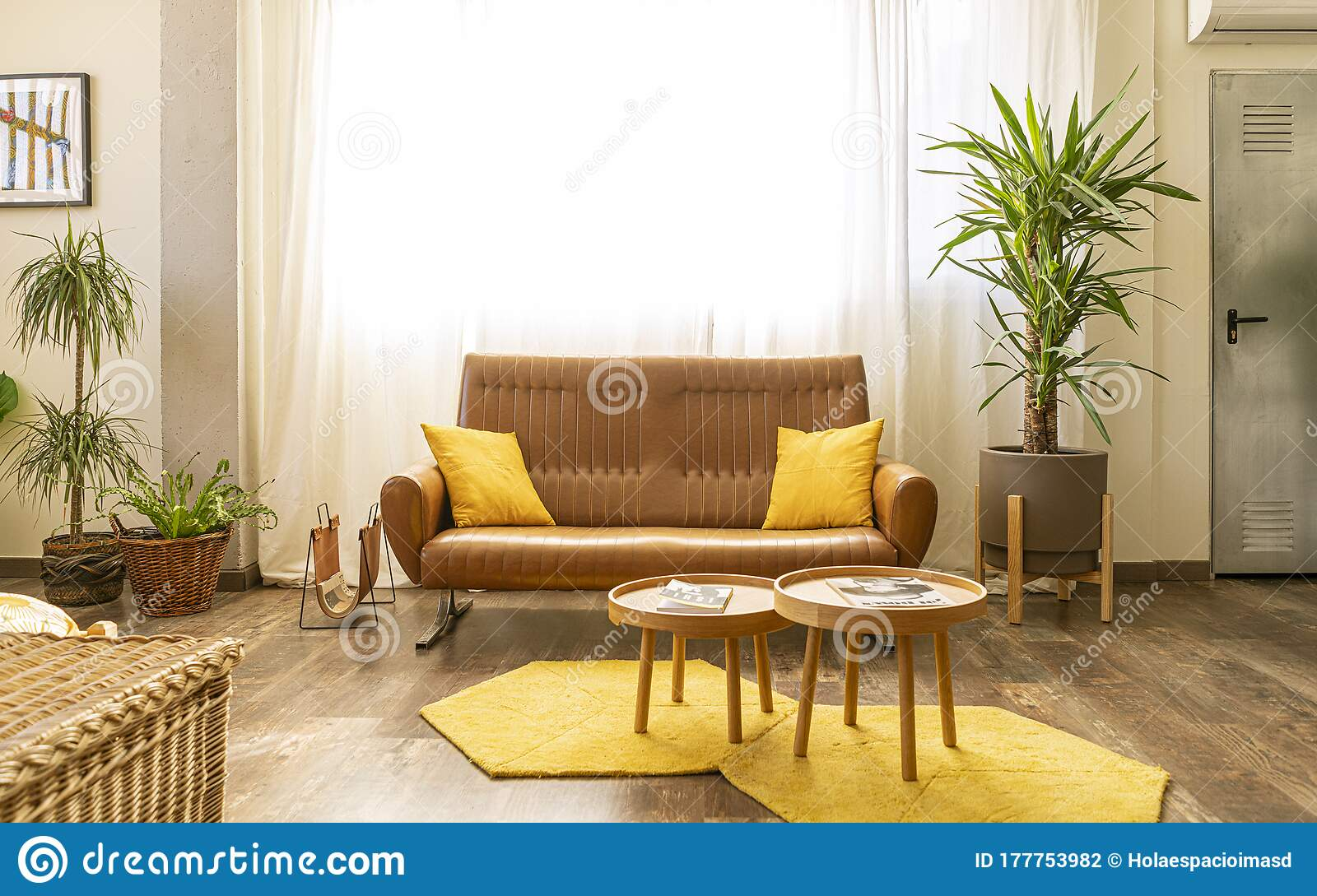 Interior Home Decoration Corner In A Living Room Bedroom With Brown Sofa Two Wooden Tables Stock Photo Image Of Indoors Decor 177753982