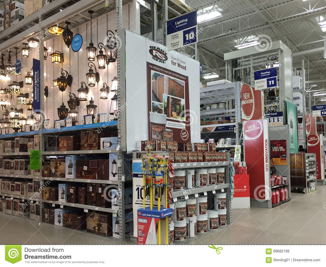 Interior of home improvement store editorial stock image for Wallpaper lowe s home improvement