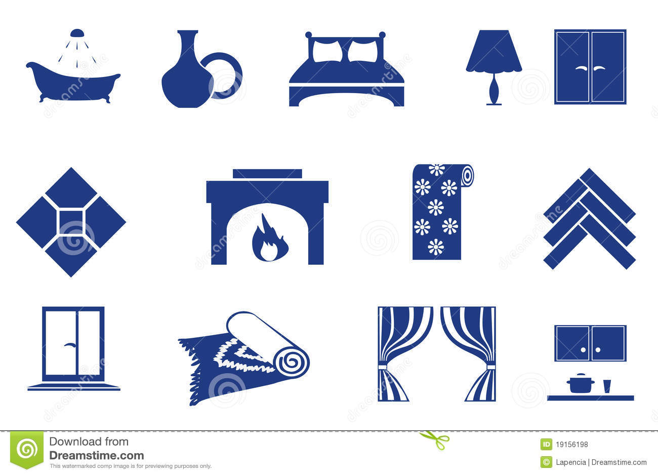 Interior Home Related Icons Royalty Free Stock Photos