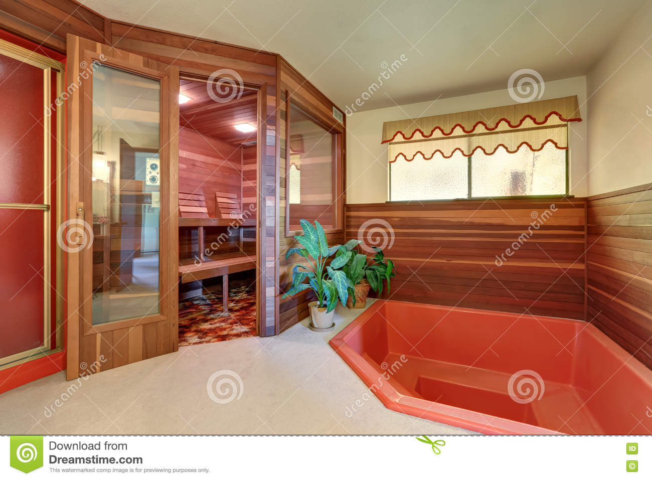 Interior Of Home Wooden Sauna Cabin With Jacuzzi Bath Stock Photo ...