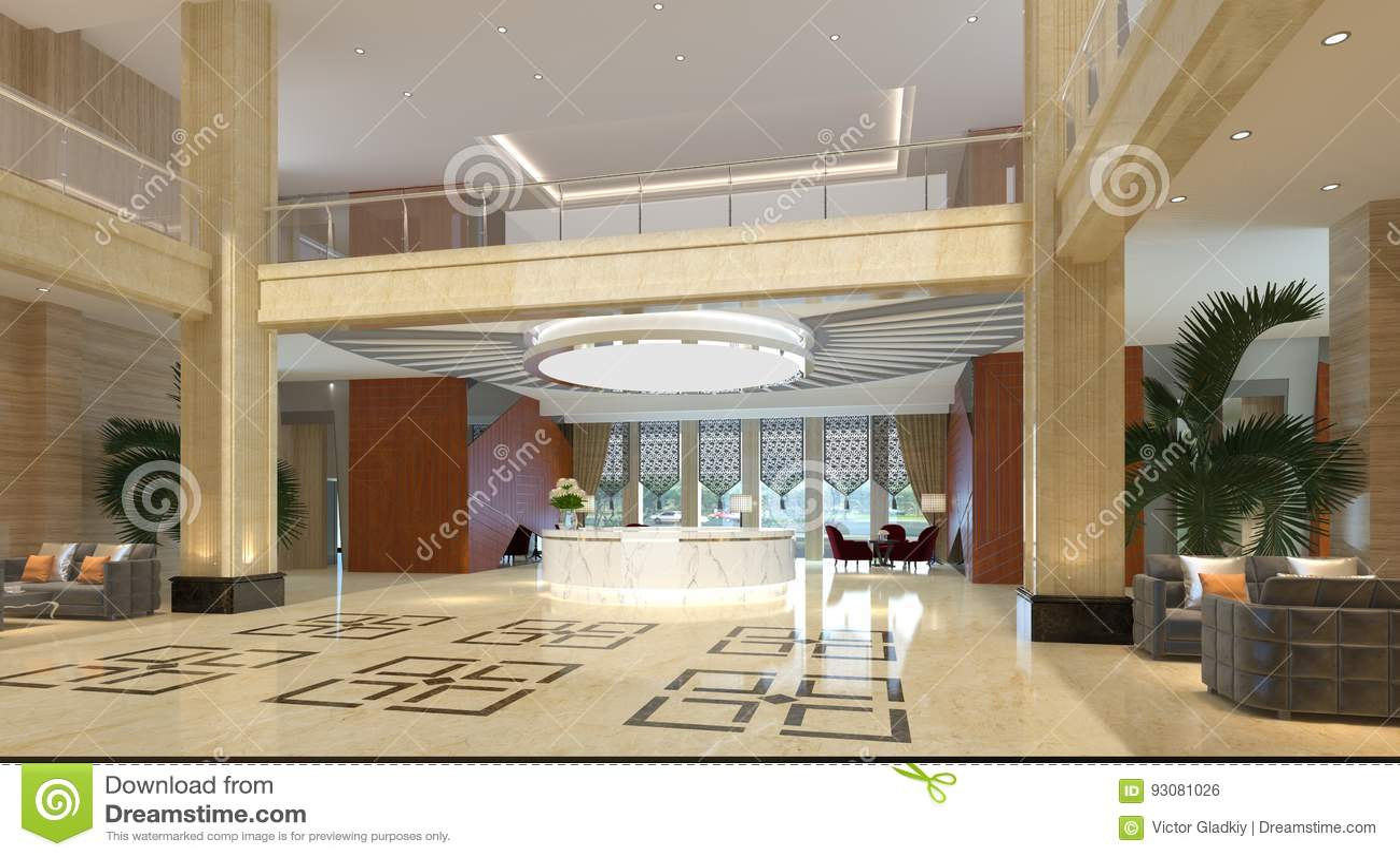 Interior Of Hotel Reception Hall 3D Illustration Stock Illustration ...