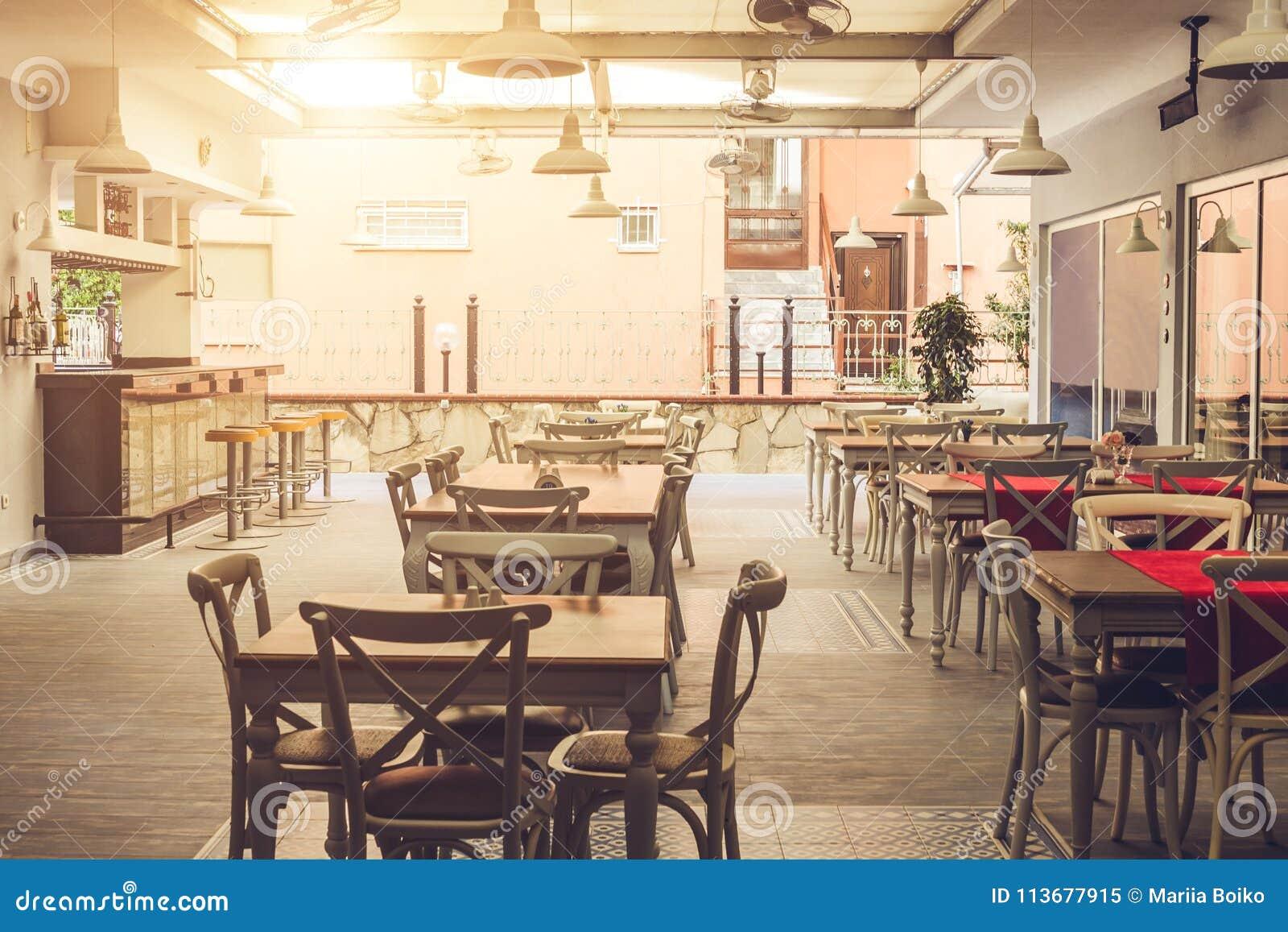 Interior of hotel restaurant. Empty hotel bar. Design of hotel dining room