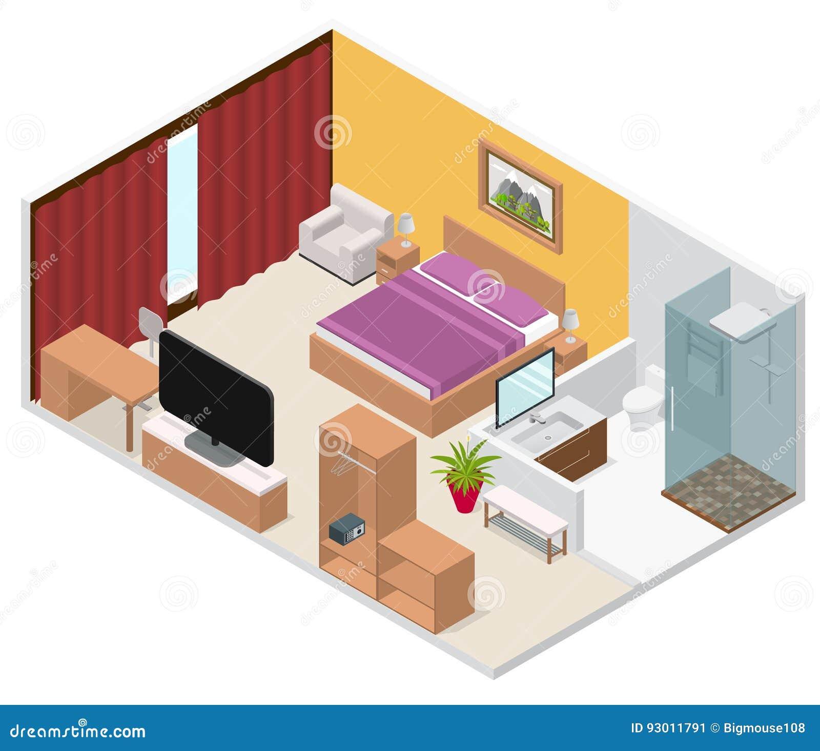 Interior hotel room isometric view vector stock vector for Appartamenti giappone