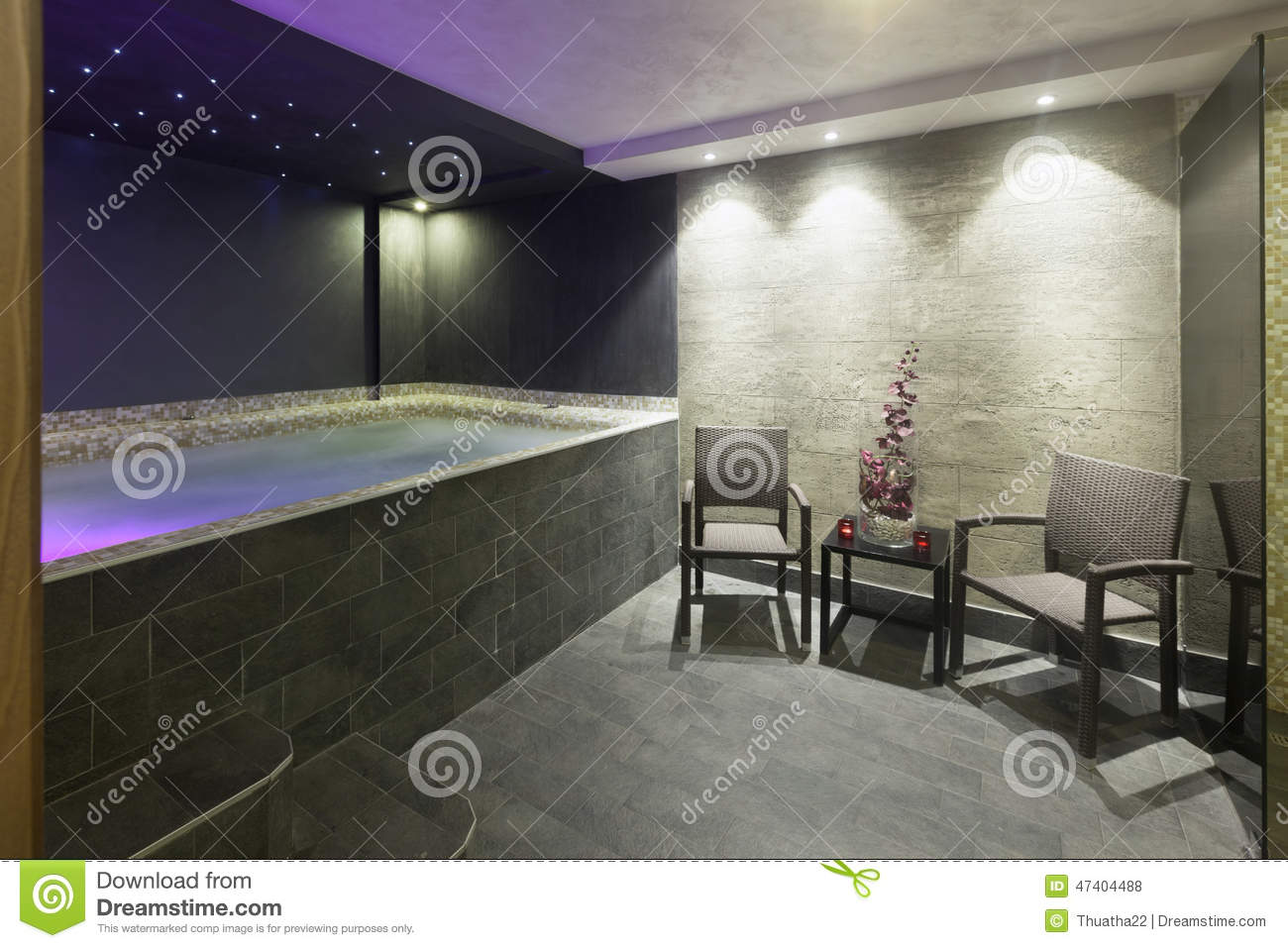 Interior Of A Hotel Spa With Jacuzzi Bath With Ambient Lights Stock ...
