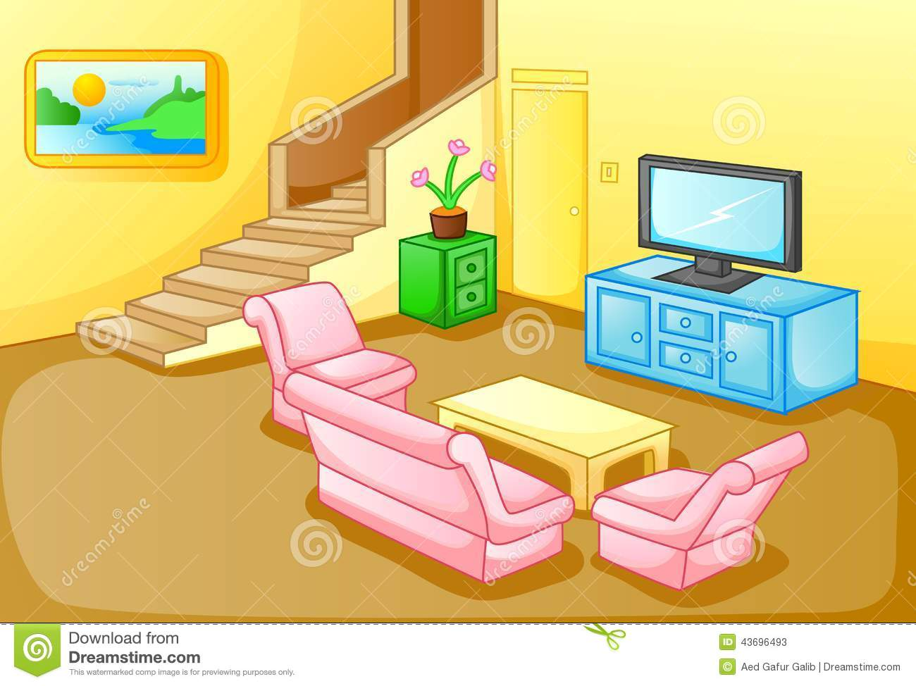 Interior Of A House Living Room Stock Vector Image 43696493