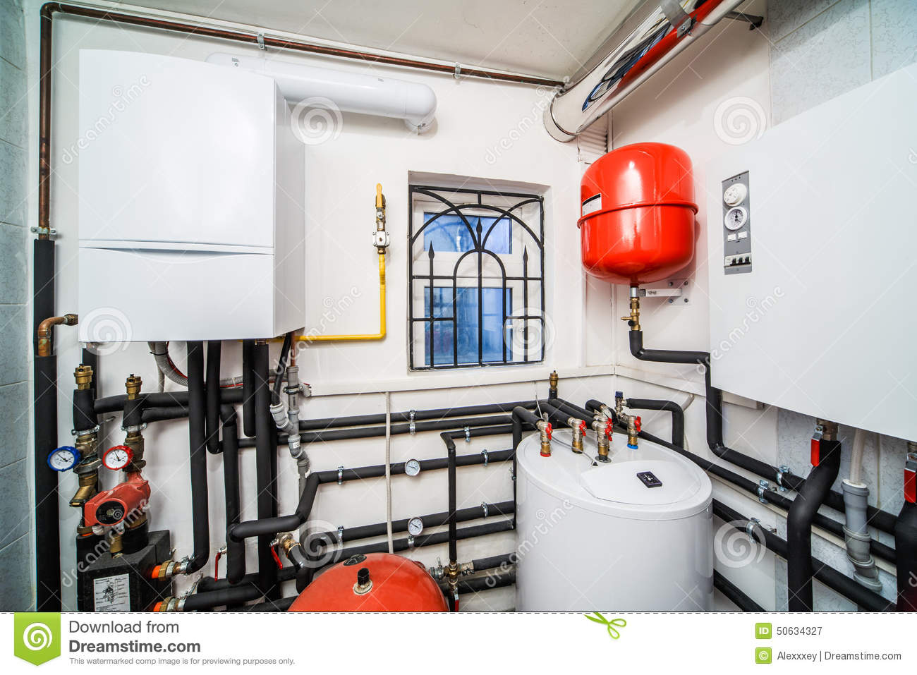 Interior Household Boiler With Gas And Electric Boilers Stock Image ...