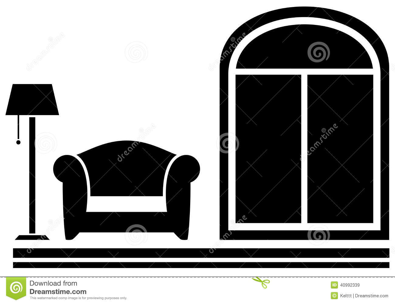 Interior Icon With Armchair, Floor Lamp And Window Stock ...
