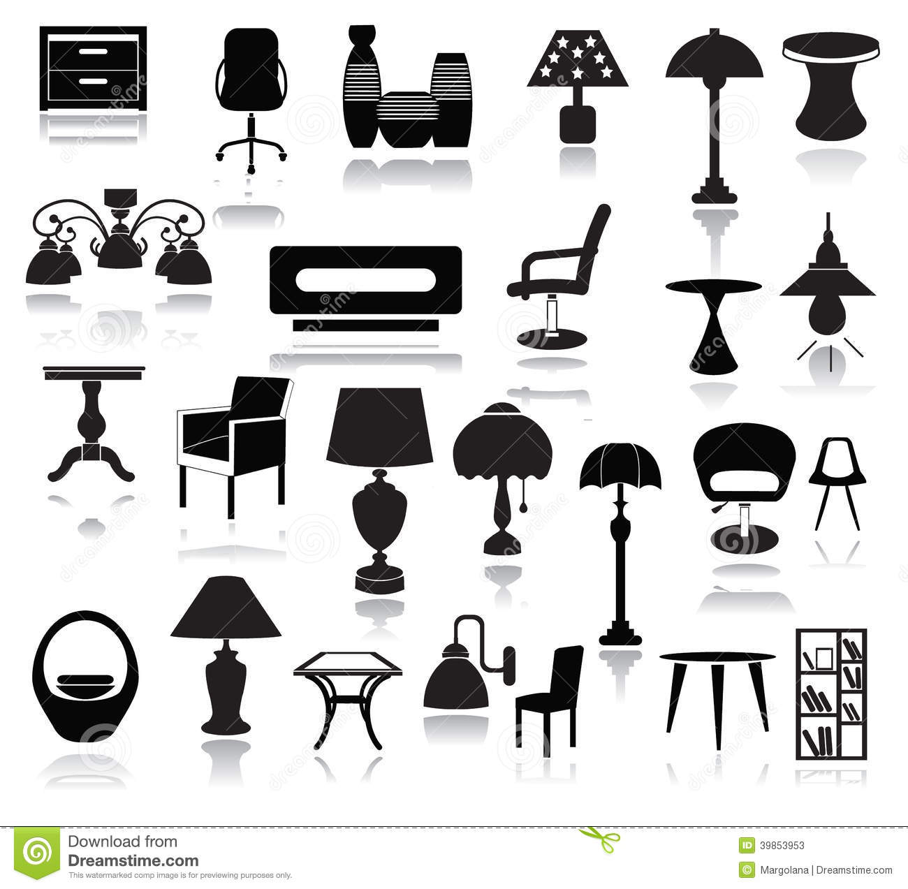 Interior Icons Set stock vector. Image of silhouette ...