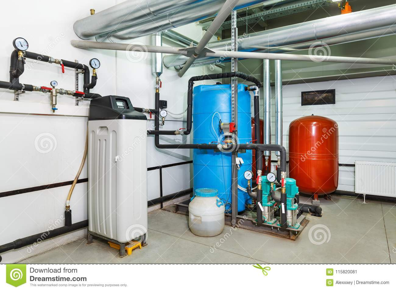 The Interior Of An Industrial Boiler House With A Multitude Of P ...
