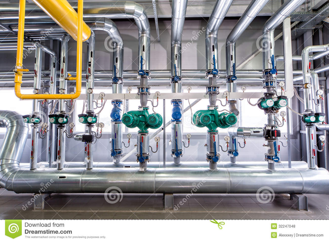 Interior Of An Industrial Boiler The Piping Pumps And