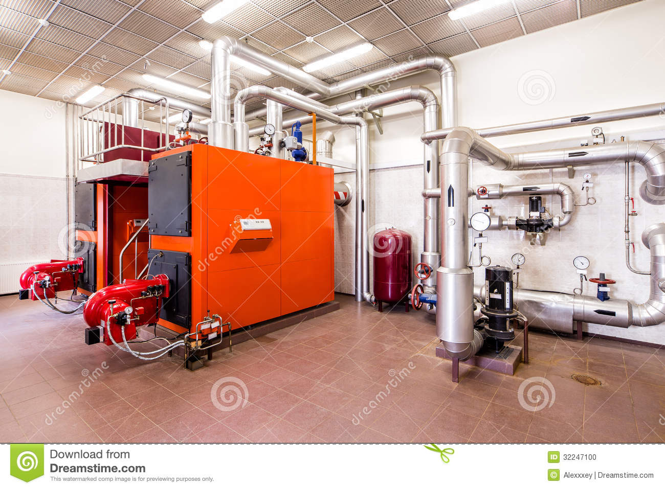 Interior Industrial Diesel Boiler Room With Boilers And
