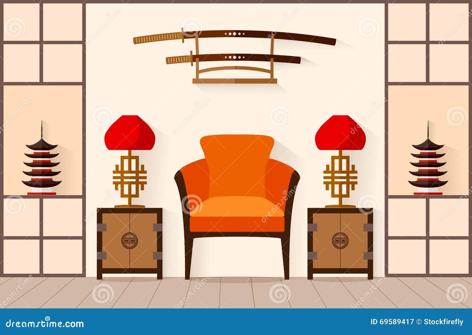 Interior japon s ilustra o do vetor ilustra o do vetor for 100 degree chinese cuisine