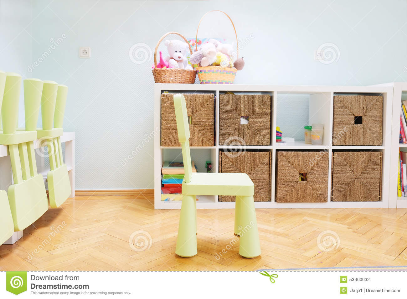 Interior of a kindergarten stock photo. image of chairs 53400032