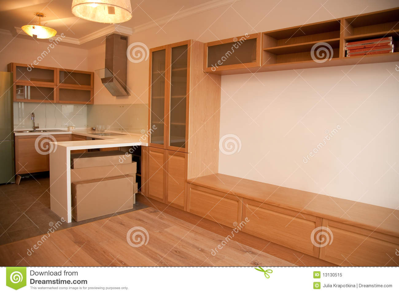 Interior Of Kitchen Combined With Sitting Room Royalty