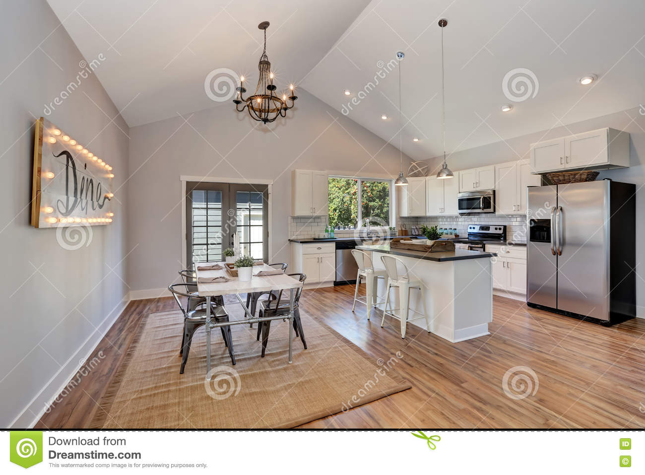 Interior Of Kitchen Room With High Vaulted Ceiling Stock Photo