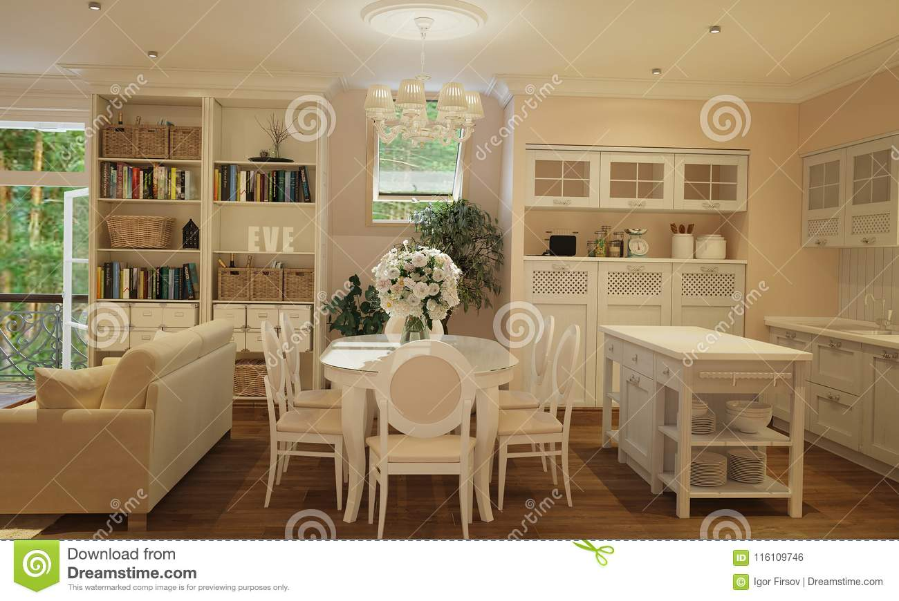 Interior Of Kitchen And Living Room In Provence Style With White - White-living-room-style
