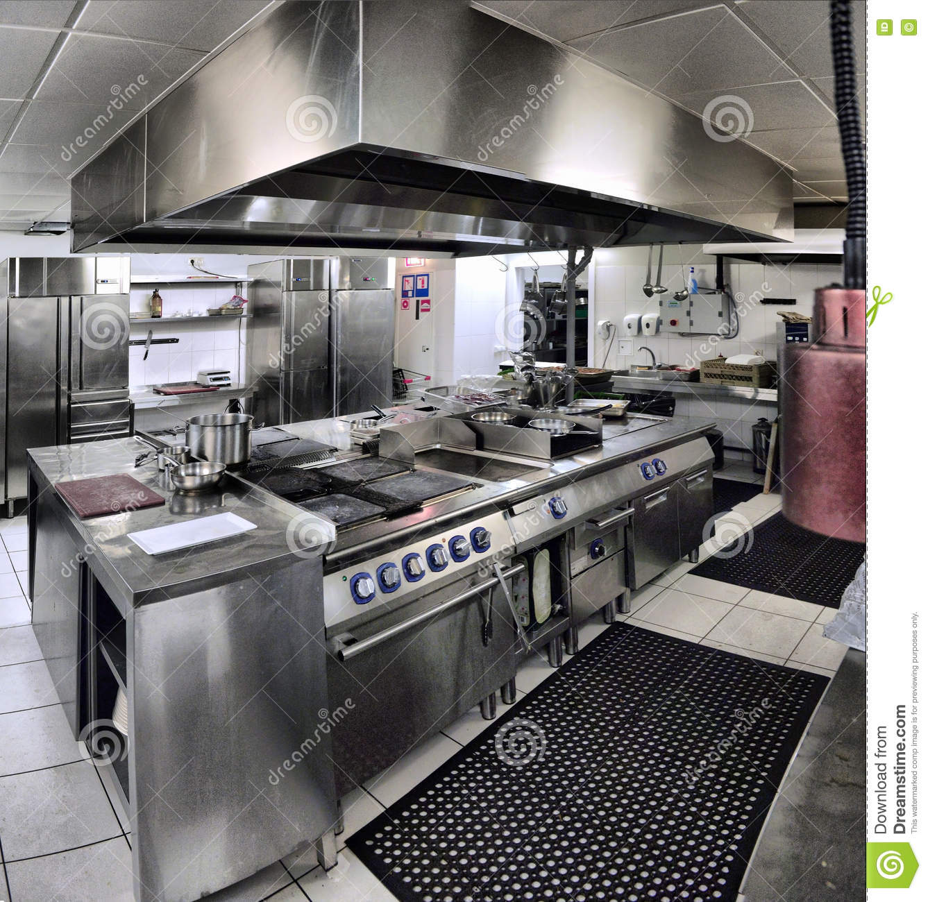 Interior of a restaurant kitchen stock photography