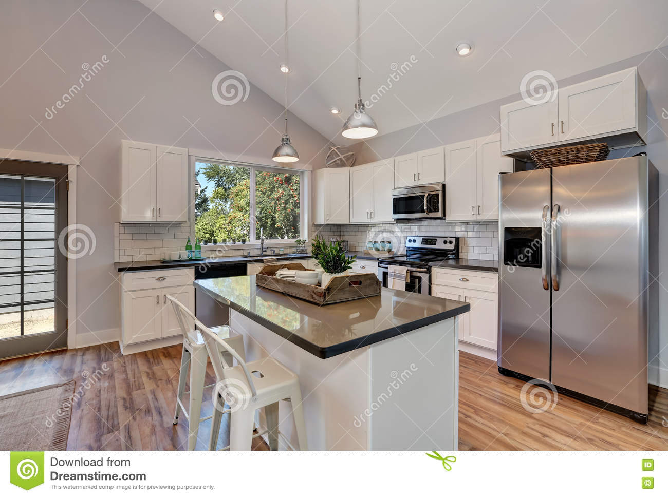 Furniture Bright High Vaulted Ceiling Kitchen Room With: Interior Of Kitchen Room With High Vaulted Ceiling. Stock