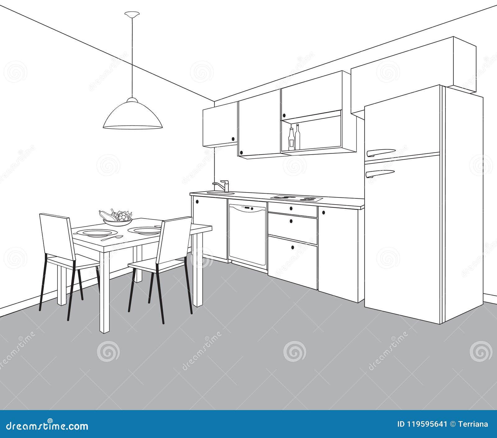 Interior of kitchen room kitchen outline furniture design stock interior sketch of kitchen room outline blueprint design of kitchen with modern furniture and dining table malvernweather Gallery