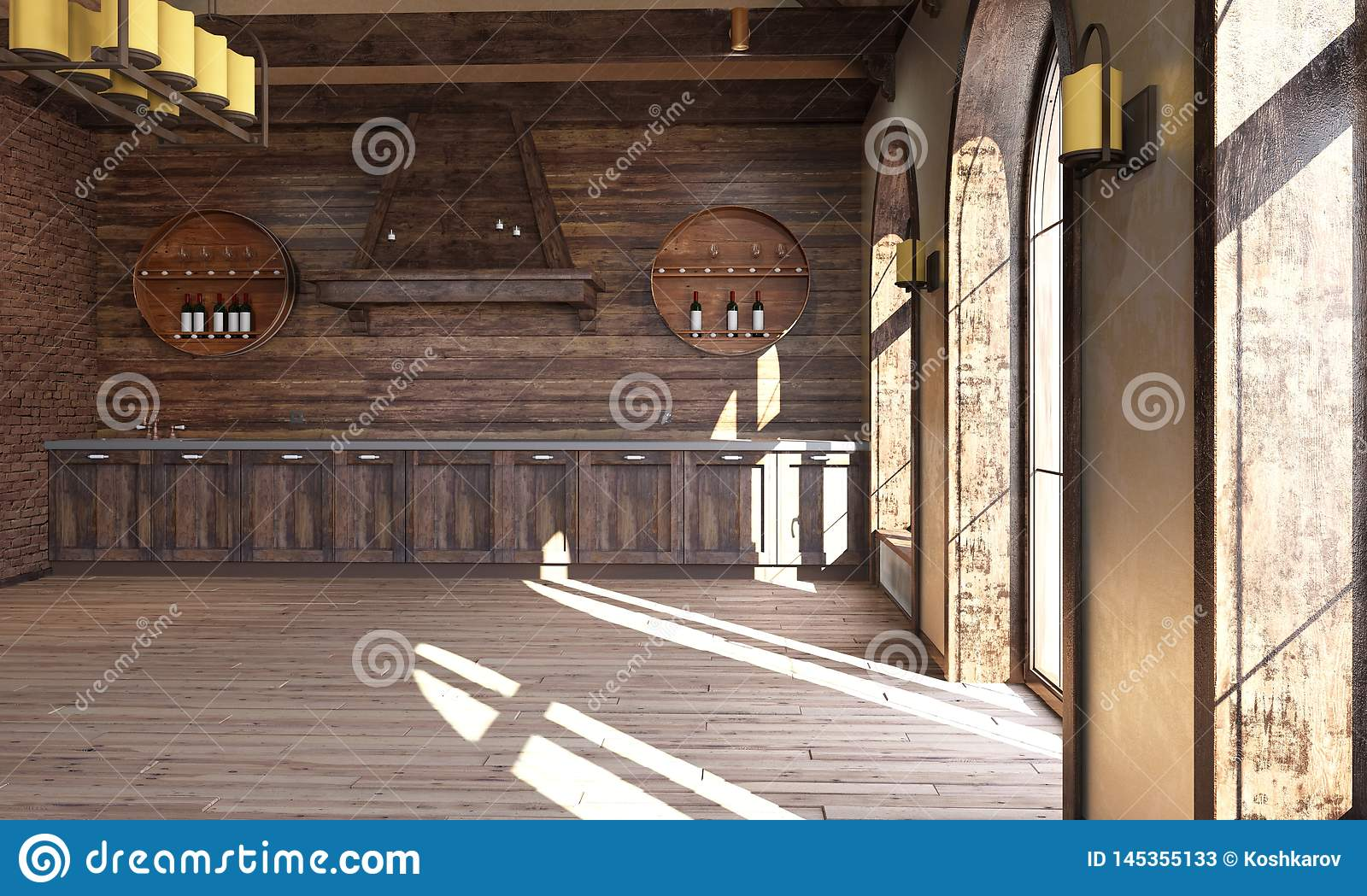 The interior of the kitchen in a rustic style. 3d render. The interior of the kitchen in a rustic style stock photos