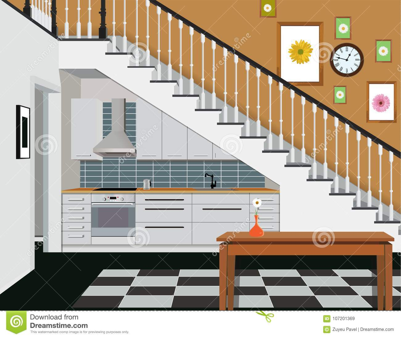 Download Interior Of The Kitchen Under The Stairs With Furniture. Design Of  Modern Kitchen.