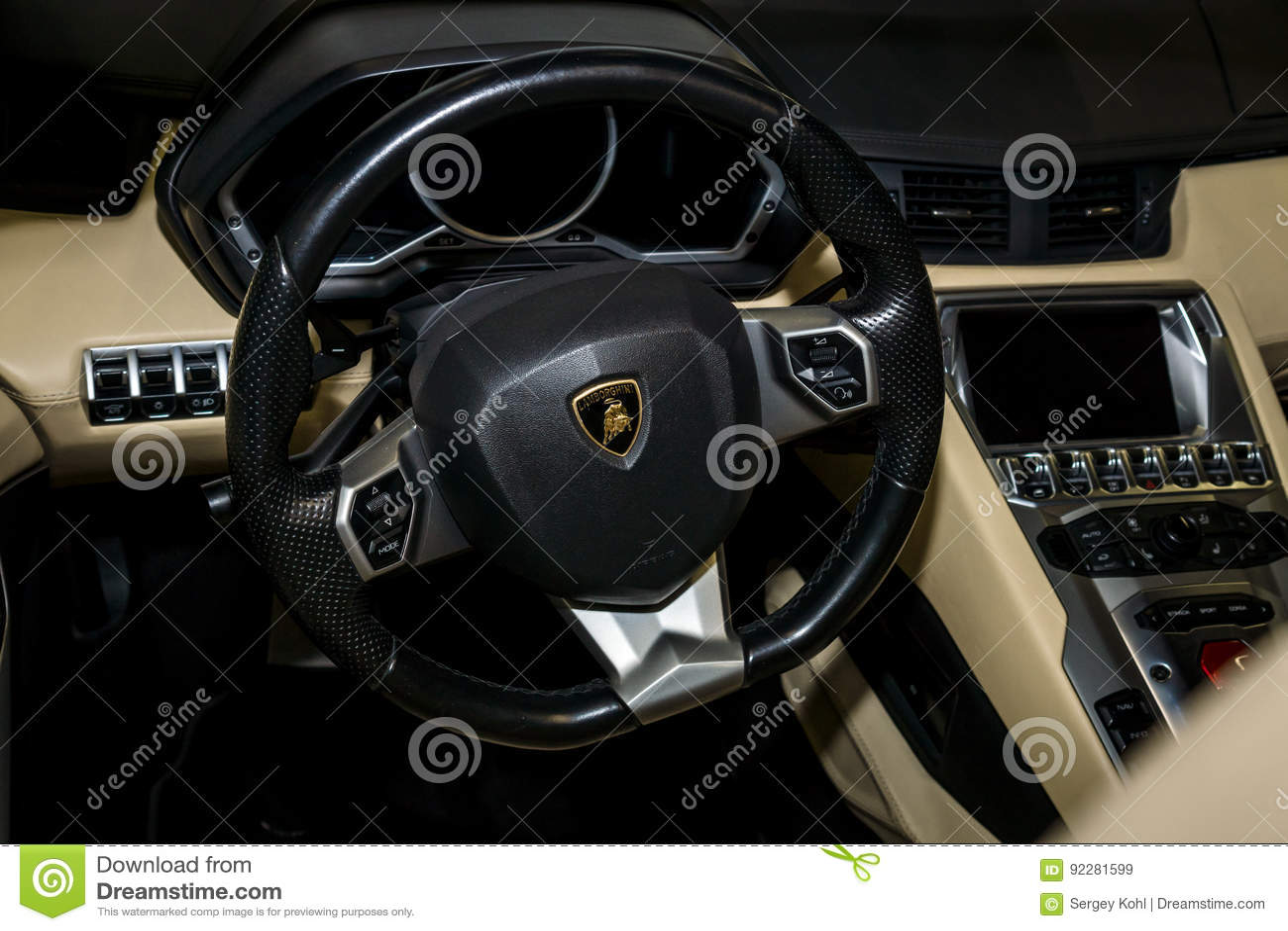 Interior Of Lamborghini Aventador. Editorial Stock Image - Image of ...