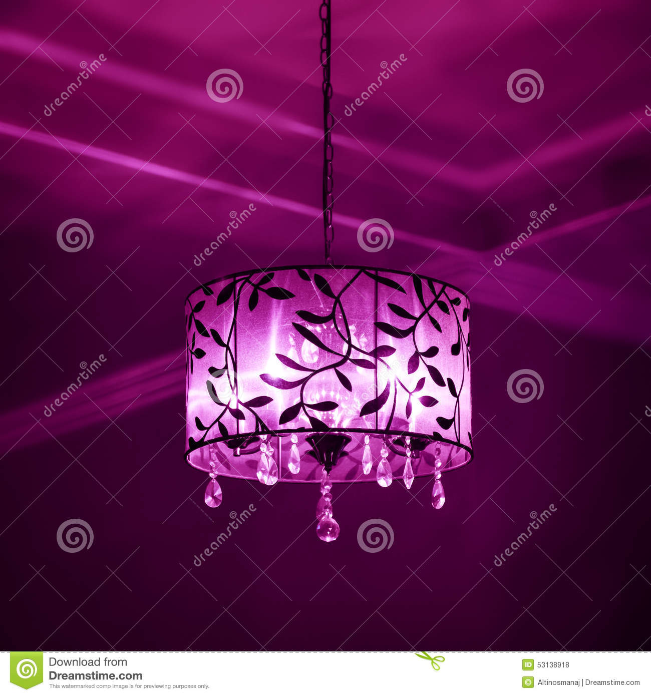 Purple Mood interior lampshade purple and pink color lighting dark mood stock