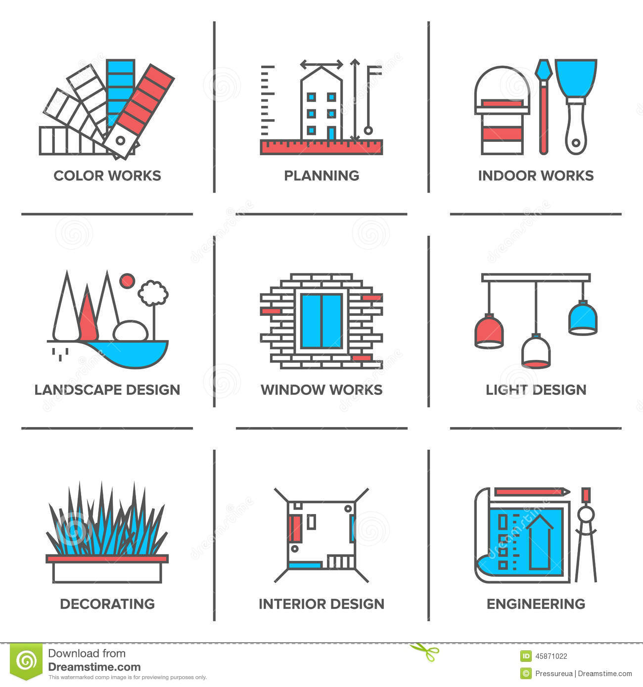 Interior And Landscape Design Line Icons Set Stock Vector Image 45871022