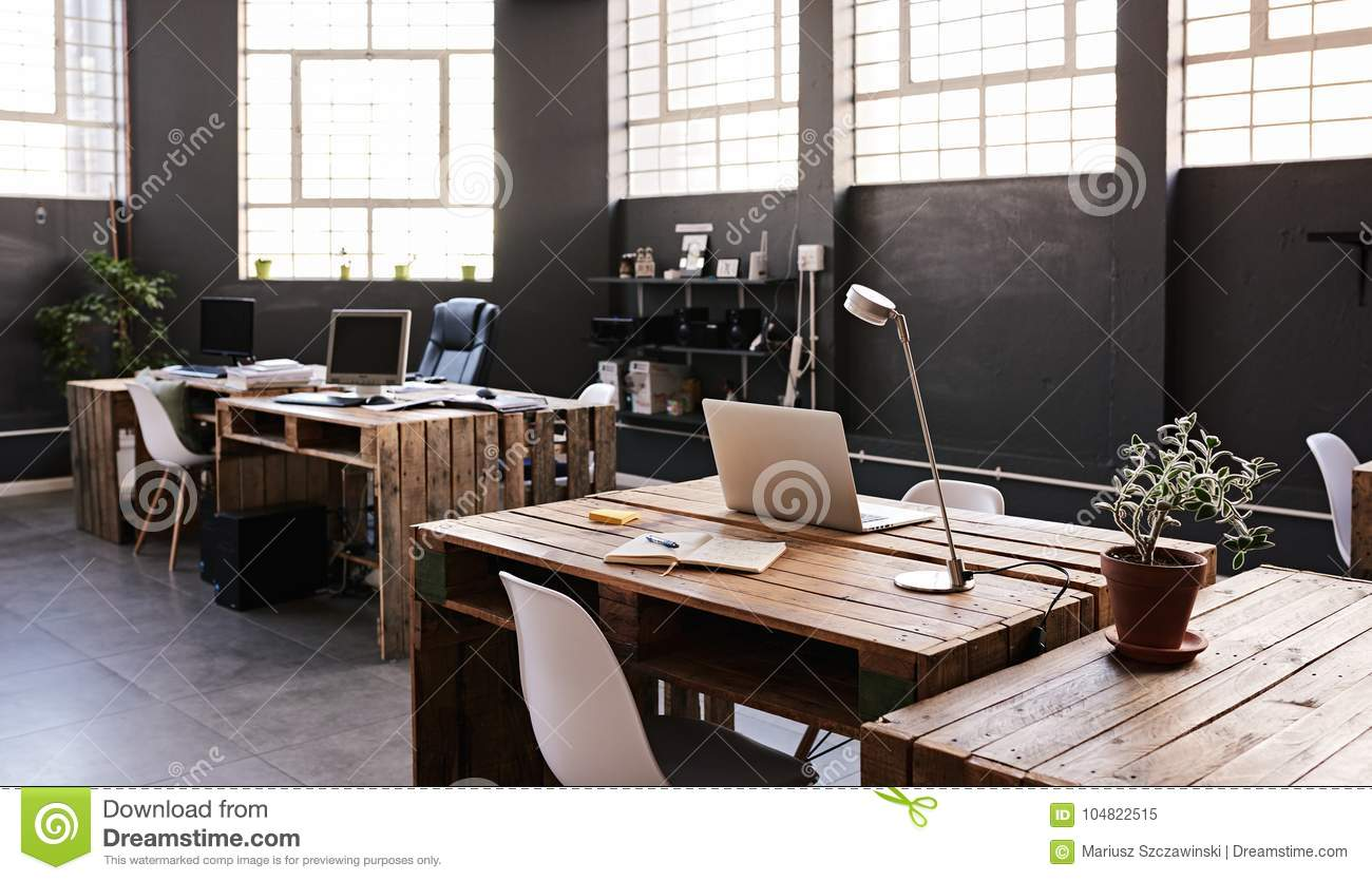 contemporary office spaces. Interior Of A Large Contemporary Office Space With No Employess Spaces R