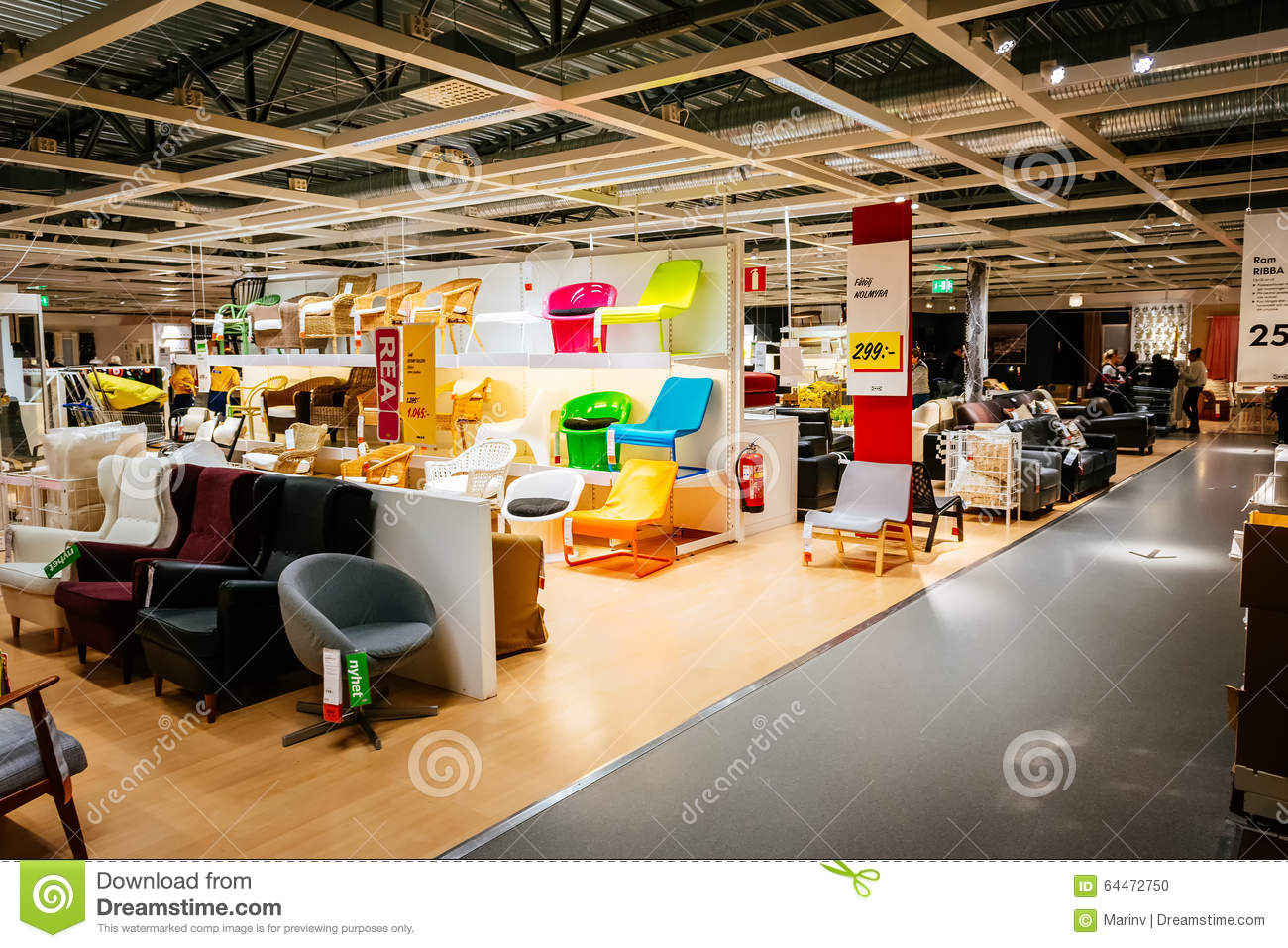interior of large ikea store with a wide range of products in malmo sweden editorial image. Black Bedroom Furniture Sets. Home Design Ideas