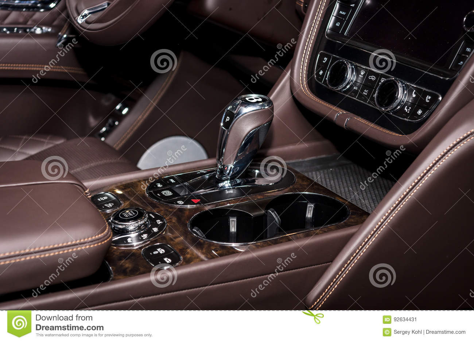 Interior Of The Large Luxury Crossover Suv Bentley Bentayga 2016 Editorial Photo Image Of Bentley Europe 92634431