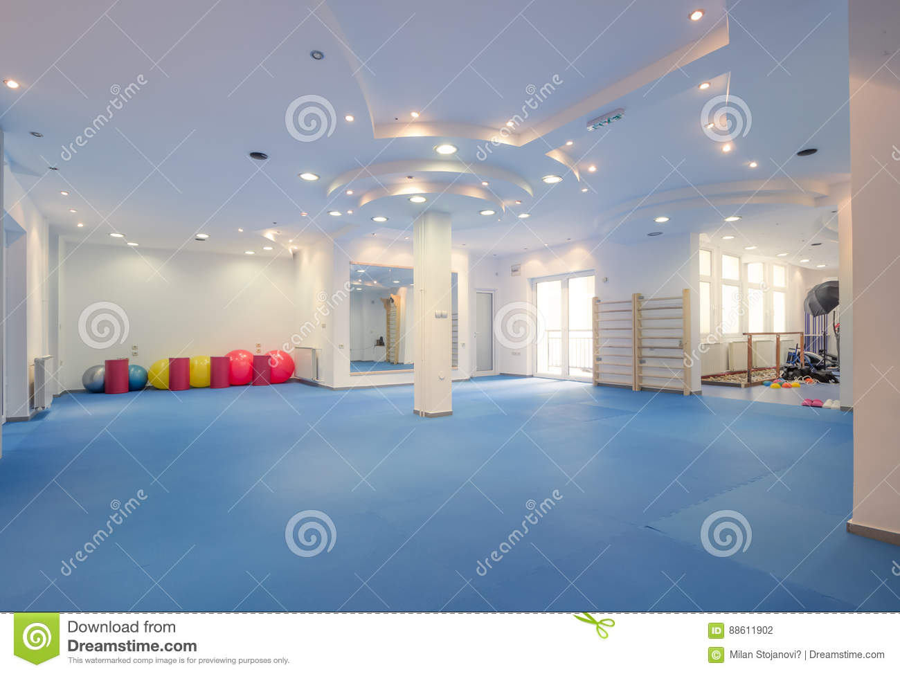 Interior large room no people fitness gym physical