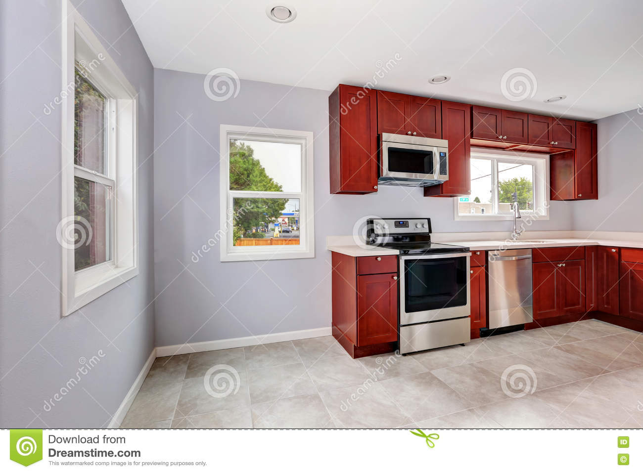 Royalty Free Stock Photo. Download Interior Of Lavender Kitchen With  Burgundy ...