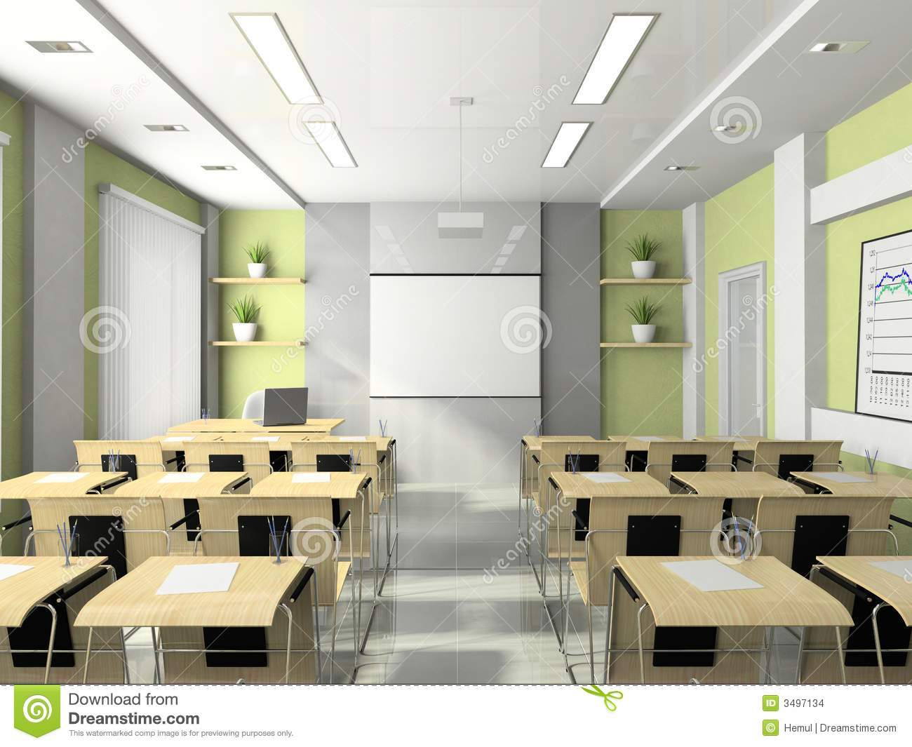 Interior Of The Lecture-room Stock Illustration - Image ...