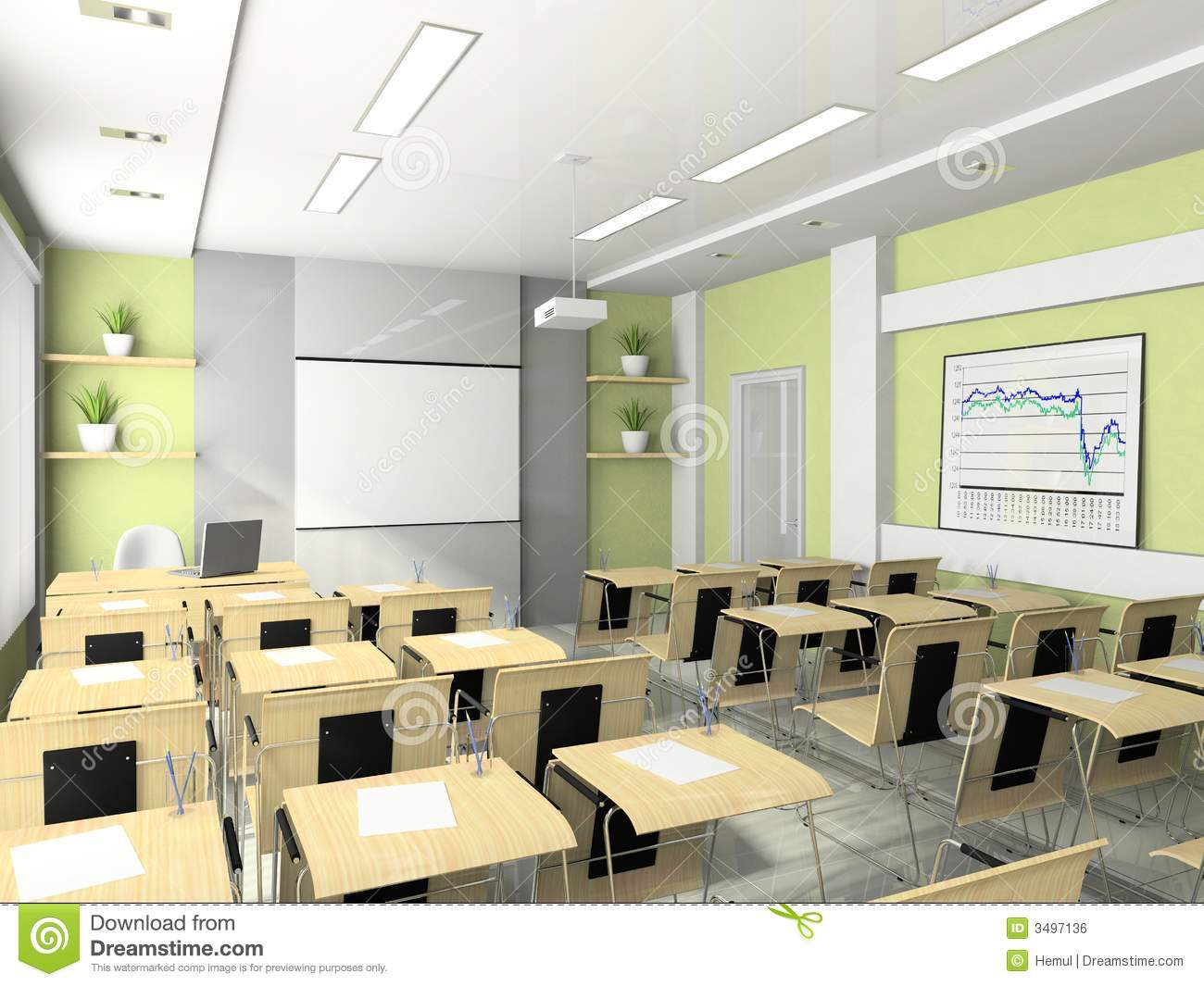 Modern Classroom Training ~ Interior of the lecture room stock illustration