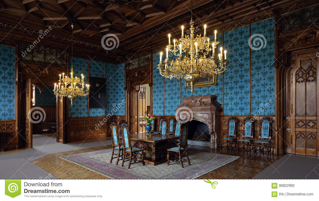Turquoise Hall With Wooden Decorations In Neo Gothic Lednice Castle Is One Of The Most Visited Monuments Czech Republic