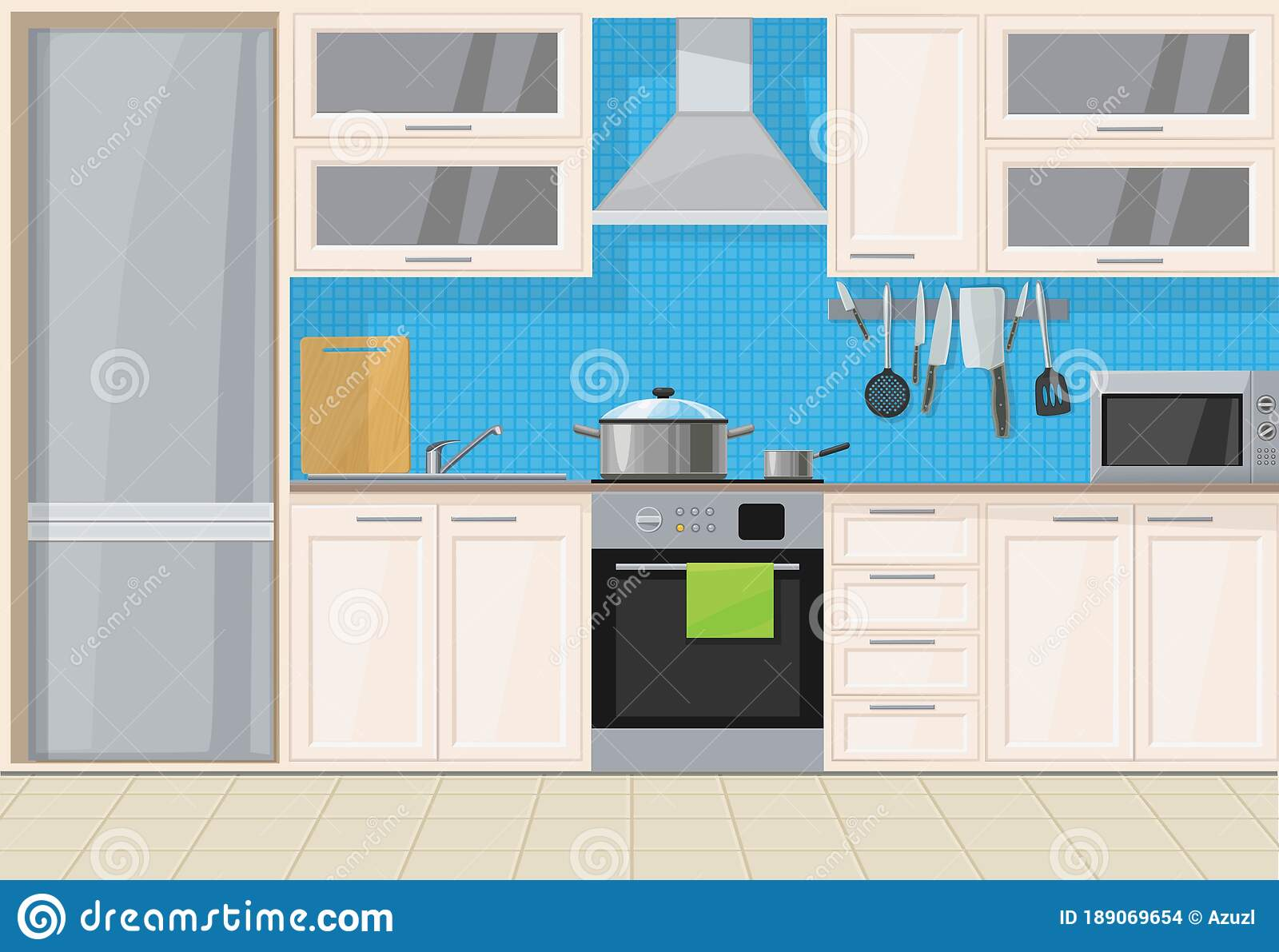 Interior Light Classic Wood Kitchen With Blue Tiles Stock Vector Illustration Of Light Comfortable 189069654