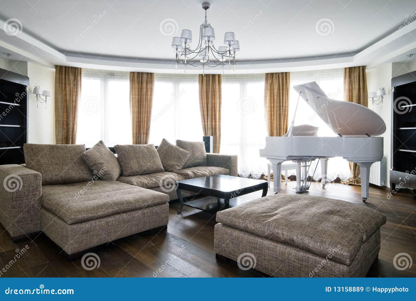 Interior of light living room with white piano stock image for White light for living room