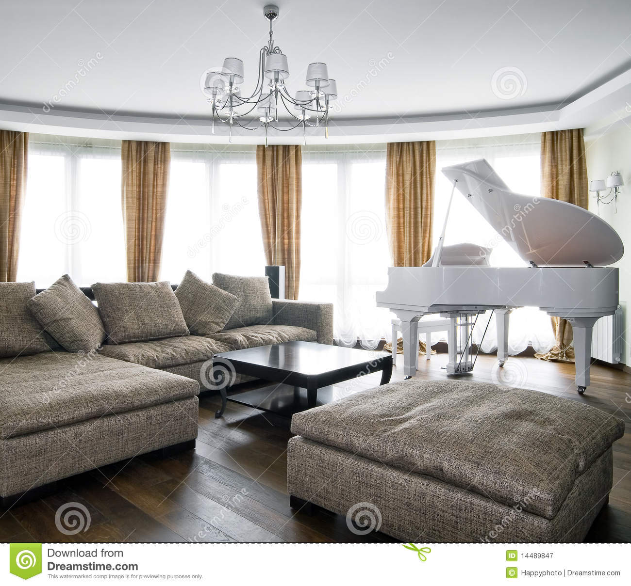 Interior Of Light Living Room With White Piano Stock Image ...