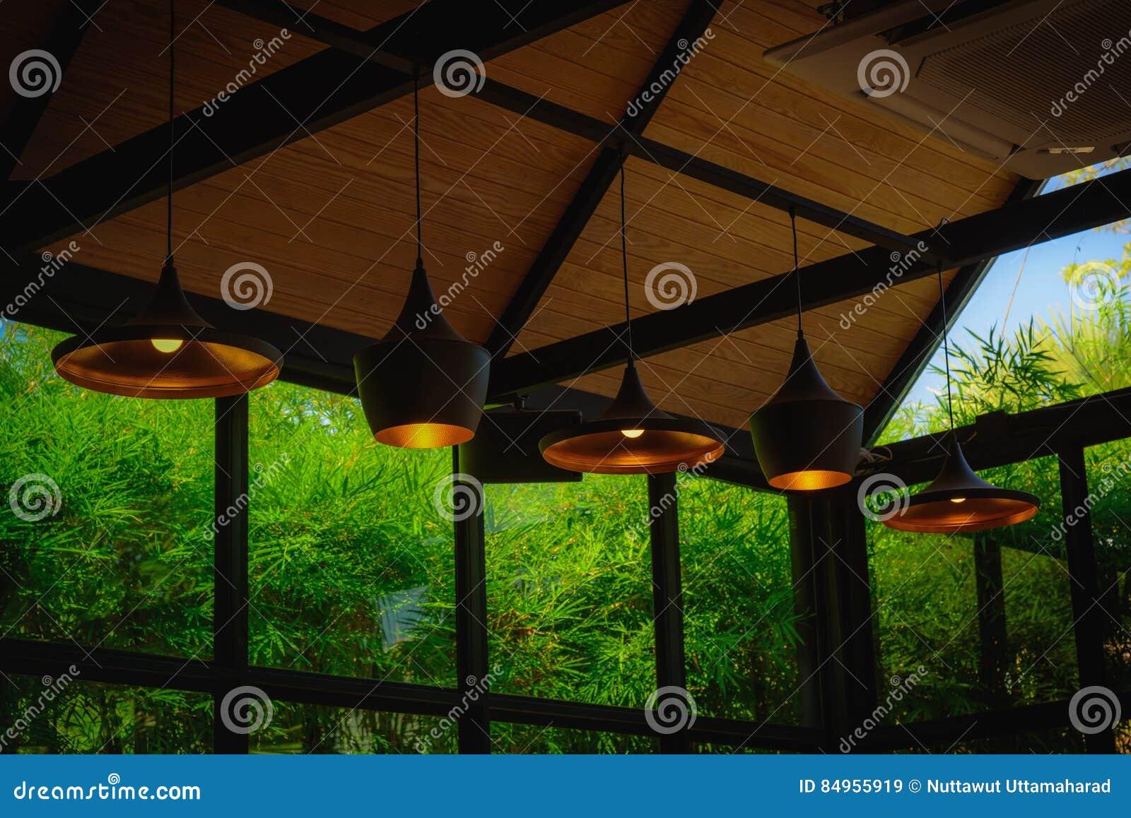 Interior Lighting Decor In Coffee Shop Stock Image Image Of
