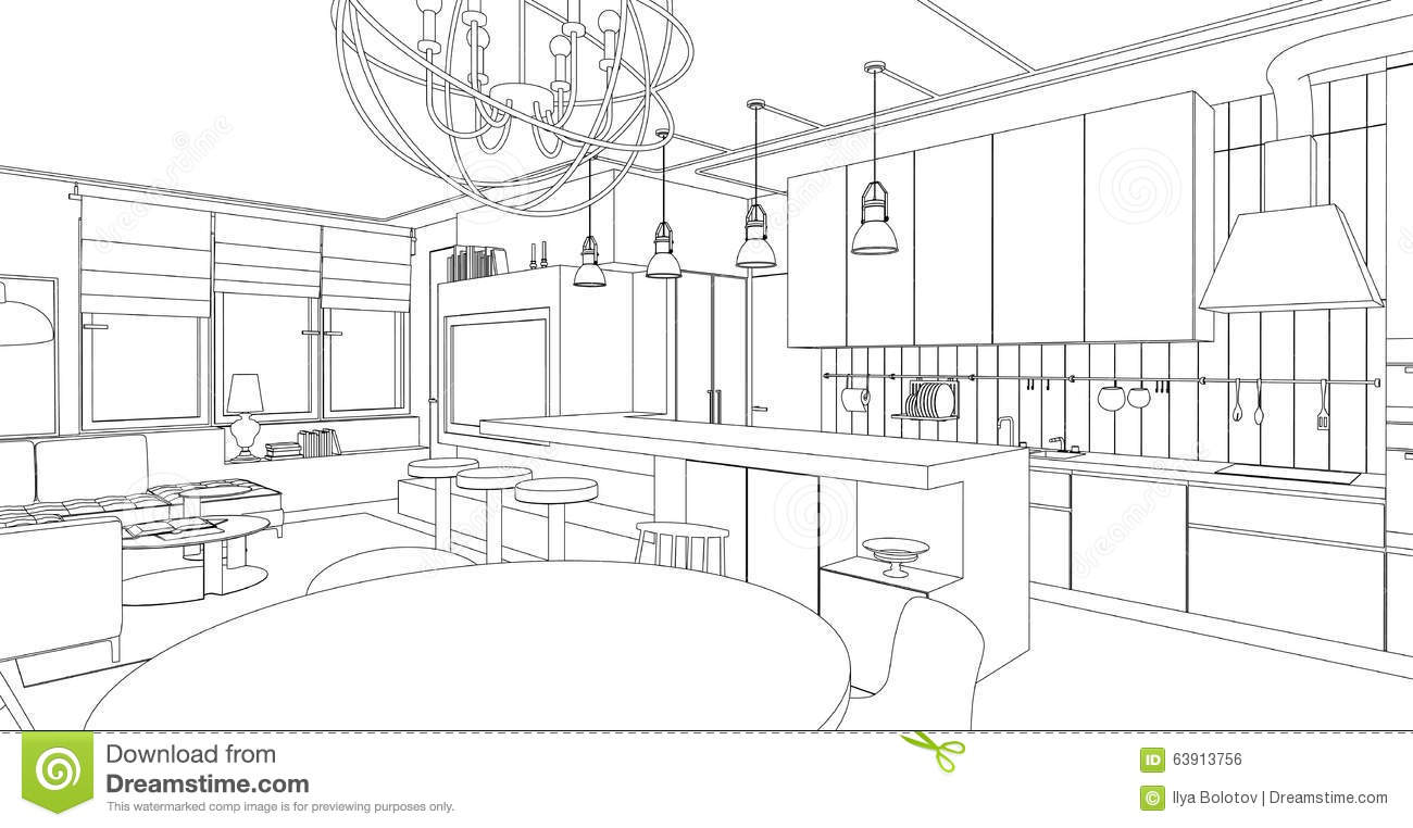 Living room drawing design - Interior Line Drawing