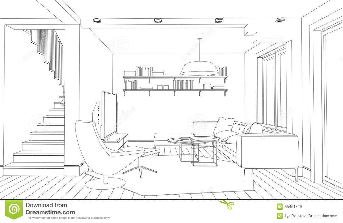 Line Drawing Interior Space : Sketch interior perspective living book shelf black and