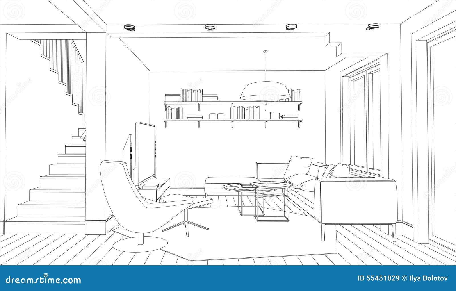 Interior Design Line Art : Sketch interior perspective living book shelf black and