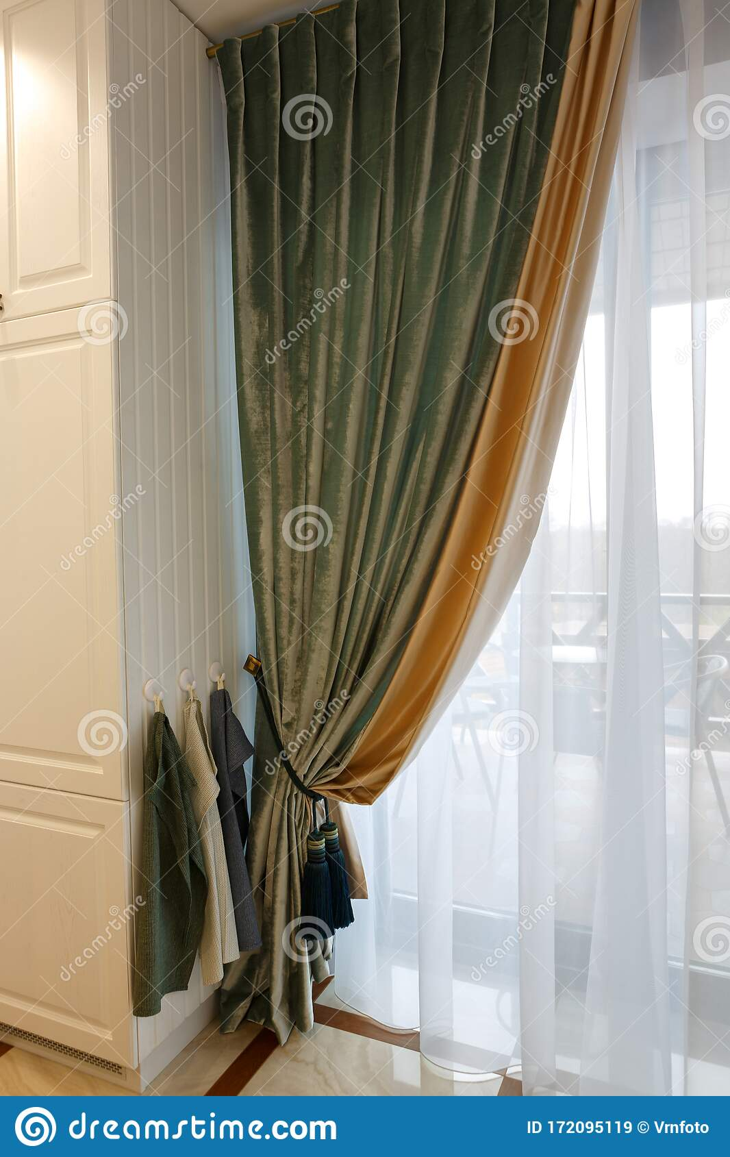 The Interior Of The Living Room Beautiful Curtains And Drapes On The Window Stock Image Image Of Modern Color 172095119